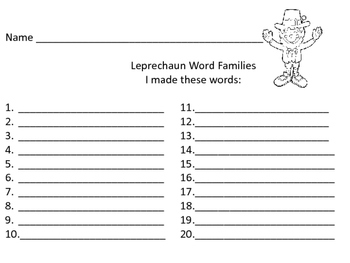 St. Patrick's Day: Word Families