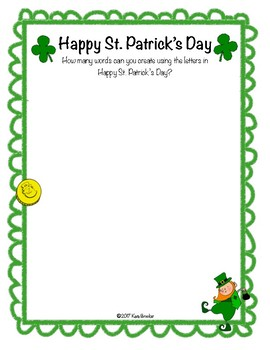St. Patrick's Day Word Game