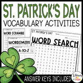 St. Patrick's Day Vocabulary Activities | Word Search Included