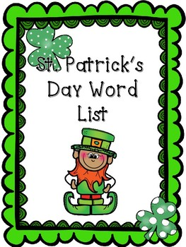 St. Patrick's Day Word List Writing Kindergarten
