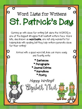St  Patrick's Day Word List for Writers* Parts of Speech* Grammar