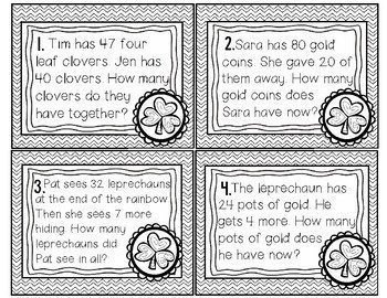 St. Patrick's Day Word Problem Task Cards: Sums to 100