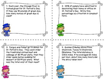 St. Patrick's Day Word Problems Fraction, Decimal, Percent