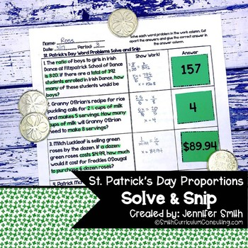 St. Patrick's Day Word Problems | Solve and Snip® | Math Station | Proportions