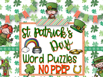 St. Patrick's Day Word Puzzles Bundle-NO PREP!