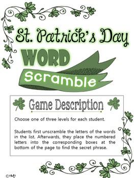 St. Patrick's Day Word Scramble Middle & High School Language Arts