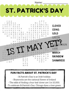 St. Patrick's Day Word Search and Fun Facts Sheet
