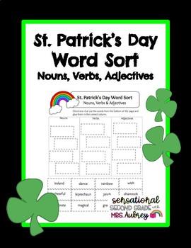 St. Patrick's Day Word Sort- No Prep! Nouns, Verbs, Adjectives