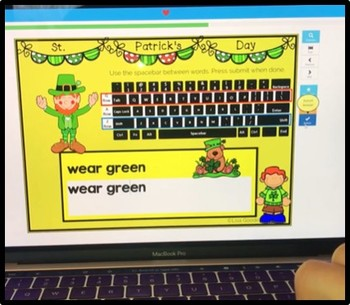 St. Patrick's Day Word Typing Practice - Internet - No Prep BoomCards