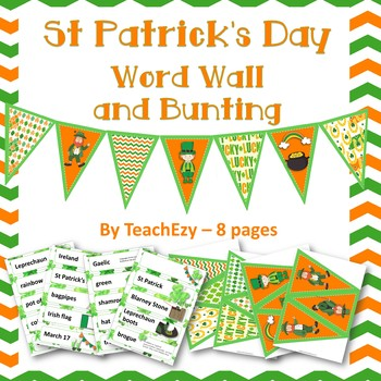 St Patrick's Day Word Wall and Bunting