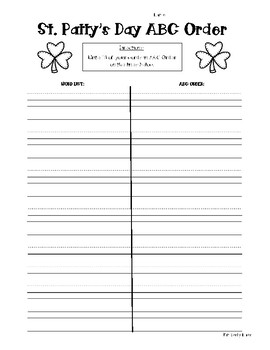 St. Patrick's Day Word Work Activity Pack - 5 Word Work Activities