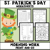 St Patrick's Day Worksheets Print and Go Morning Work