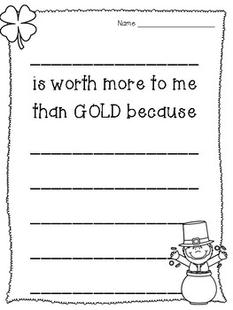 St. Patrick's Day - Worth more than GOLD - Writing Prompt