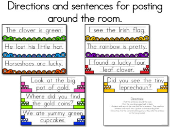 St. Patrick's Day Write the Room Activity - Sentence Reading