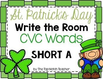 St. Patrick's Day Write the Room CVC Short A Phonics Game