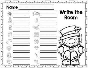 St. Patrick's Day Write the Room CVC Short E Phonics Game