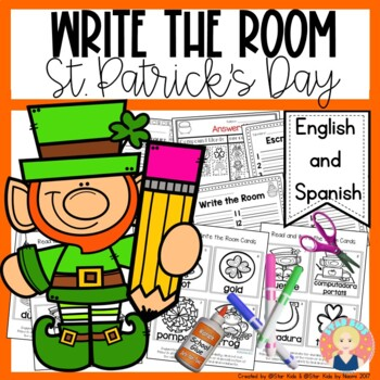 St. Patrick's Day Write the Room in English and Spanish for K-1