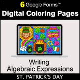 St. Patrick's Day: Writing Algebraic Expressions - Digital Coloring Pages