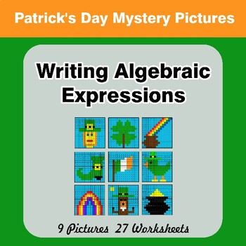 St. Patrick's Day: Writing Algebraic Expressions - Math Mystery Pictures