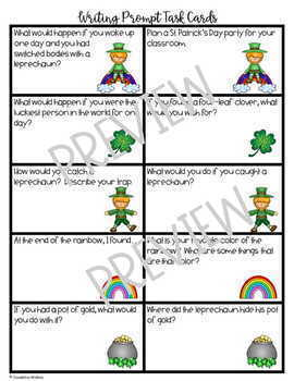 St. Patrick's Day Writing Prompts and Paper with Dotted Lines