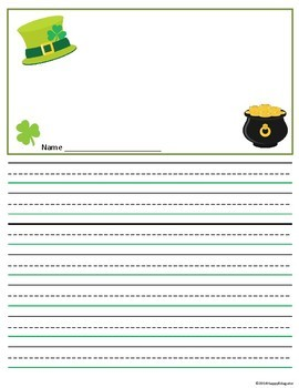 St. Patrick's Day Writing Paper - Lined Paper with Drawing Boxes - 20 Designs