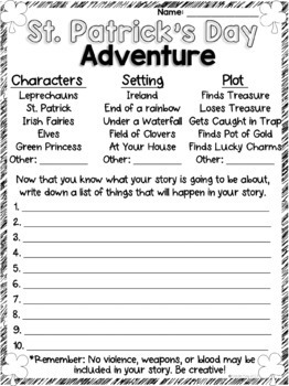 St. Patrick's Day Writing - Write Your Own Adventure