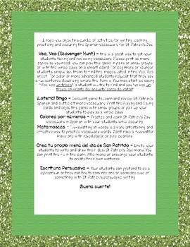 St. Patrick's Day Writing and Fun Activities Spanish