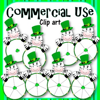 St. Patrick's Day Zebra Spinners - Clip Art - Commercial Use