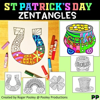 St Patrick's Day Zentangles,  No Prep Coloring Pages