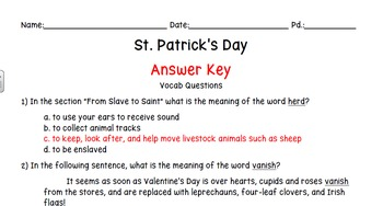 St. Patrick's Day: a Vocabulary and Reading Comprehension Activity