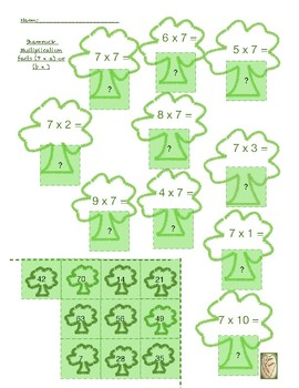 St. Patrick's Day basic 6 and 7 multiplication fact Math Center