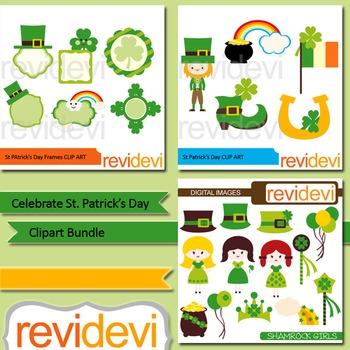 St. Patrick's Day clip art bundle (3 packs)