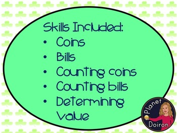 St. Patrick's Day counting money task cards