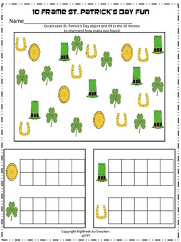 St. Patrick's Day counting with 10 frames -FREE