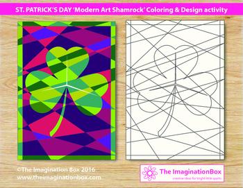 Free St Patricks Day 'modern art shamrock' coloring art activity