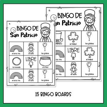 St Patrick's Day in Spanish Worksheets and Bingo - Dia de San Patricio