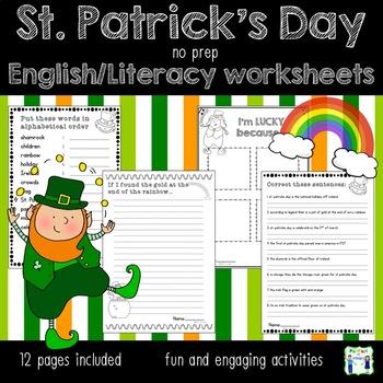 St. Patrick's Day no prep English worksheets