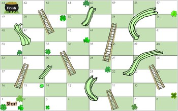 St. Patrick's Day themed Chutes and Ladders Dolch Word Board Game