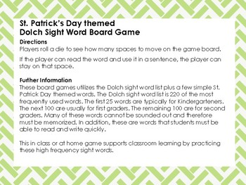 St. Patrick's Day themed Dolch Sight Word Board Game
