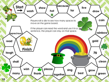 St. Patrick's Day themed Dolch Sight Word Reading Board Game