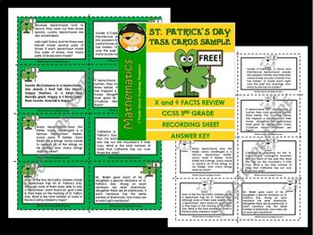 St. Patrick's Day X & ÷ Task Cards FREEBIE/ CCSS Aligned 3rd Grade