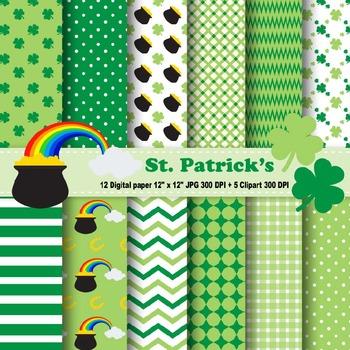 St. Patrick's Digital Paper & Clipart