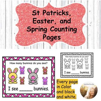 St. Patrick's, Easter, and Spring Counting Pages Bundle