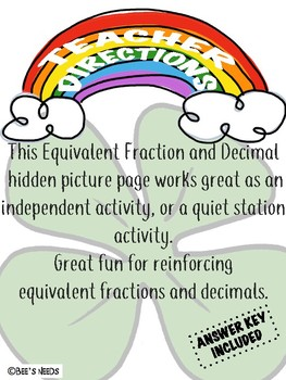 St. Patrick's Finding Fraction and Decimal Seek and Find Hidden Picture
