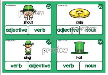 Nouns, Verbs, Adjectives Clip Cards -Parts of Speech- St Patrick's theme