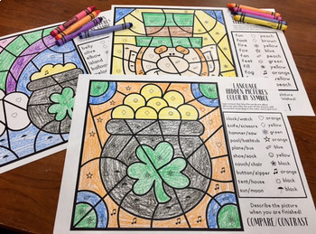 St. Patrick's Language Color by Symbol (Hidden Images) Speech Therapy Activity