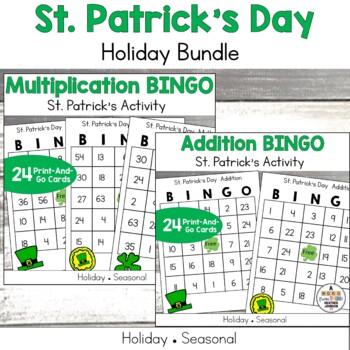 St Patrick's Math Bundle, Multiplication and Addition BINGO, Bookmarks, passes