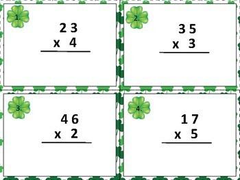 St. Patrick's Multiplication Task Cards Sets C and D