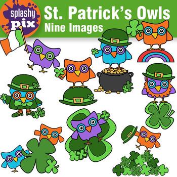 St. Patrick's Owls Clipart