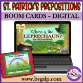St Patrick's Prepositions and Sentence Formulation BOOM CARDS - Teletherapy